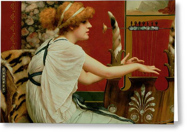 Lyre Paintings Greeting Cards - Music Greeting Card by John William Godward