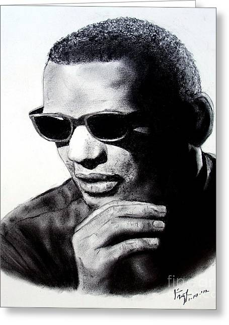 Player Drawings Greeting Cards - Music Legend Ray Charles Greeting Card by Jim Fitzpatrick