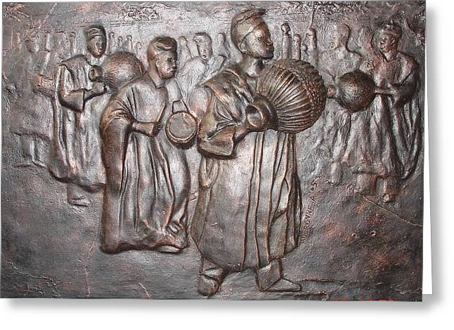 African Sculptures Greeting Cards - Music makers Greeting Card by Aderonke Adetunji