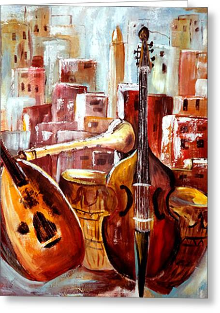 Lute Paintings Greeting Cards - Music of Morocco Greeting Card by Patricia Rachidi