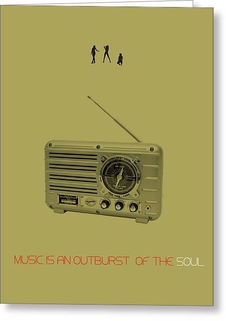 Vintage Radio Greeting Cards - Music of Soul Poster Greeting Card by Naxart Studio