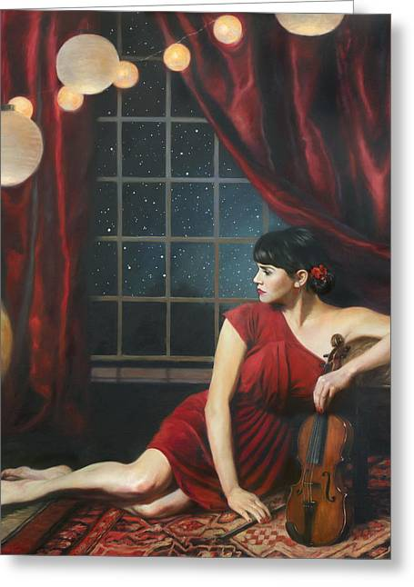 Red Dress Greeting Cards - Music of the Spheres Greeting Card by Anna Bain