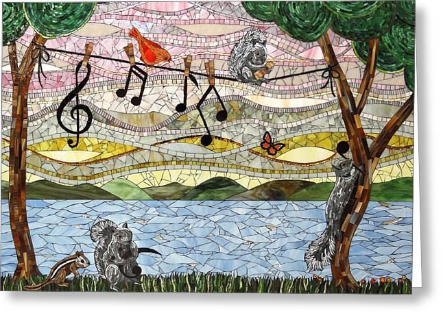 Music Play Greeting Card by Barbara Benson Keith