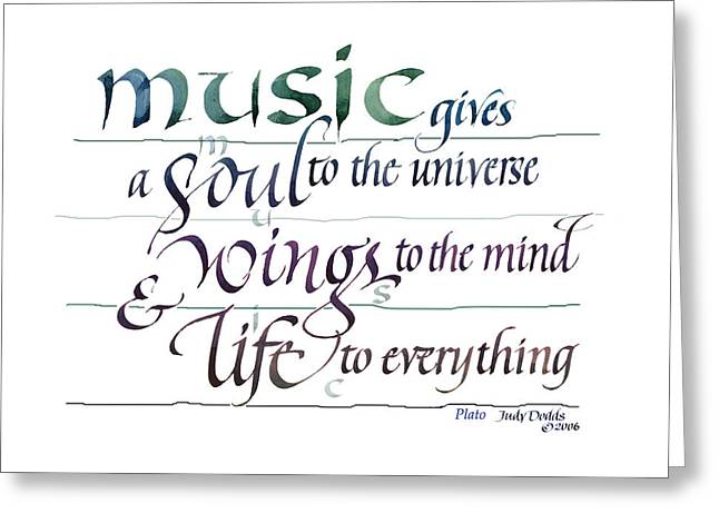 Mind Paintings Greeting Cards - Music Soul Greeting Card by Judy Dodds