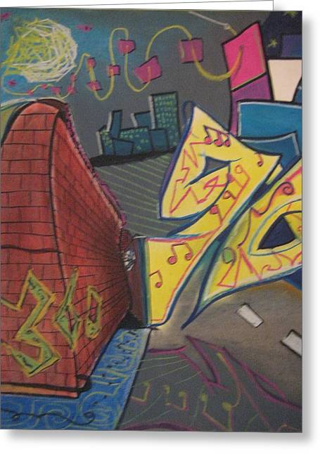 City Life Pastels Greeting Cards - Music Transformation No.4 Greeting Card by Casey P