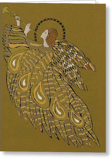 Repetition Paintings Greeting Cards - Musical Angel Greeting Card by Gillian Lawson