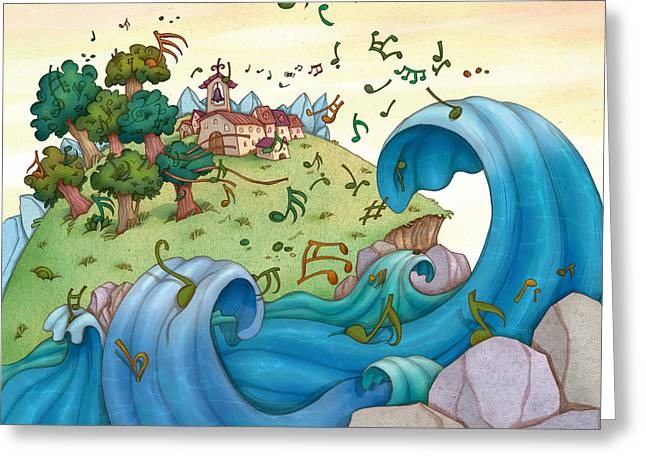 Character Design Greeting Cards - Musical Coast Town Greeting Card by Autogiro Illustration