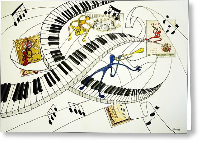 Fancy-full Greeting Cards - Musical Happy People with Wine Greeting Card by Glenn Calloway