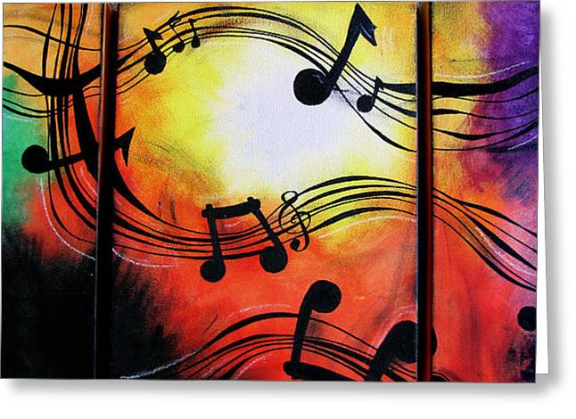 Quirky Mixed Media Greeting Cards - Musical Note Canvas Greeting Card by Sarah Stonehouse