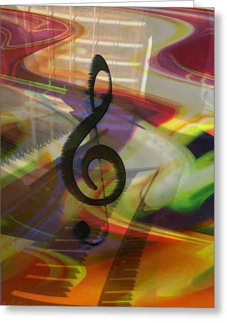 Energy Art Movement Greeting Cards - Musical Waves Greeting Card by Linda Sannuti