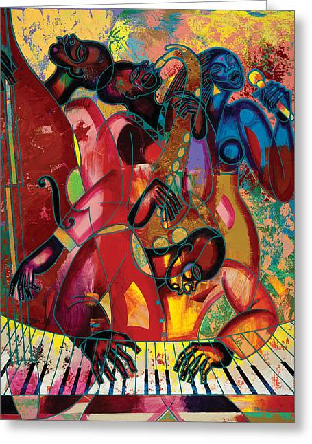Poncho Paintings Greeting Cards - MusicFest Greeting Card by Larry Poncho Brown