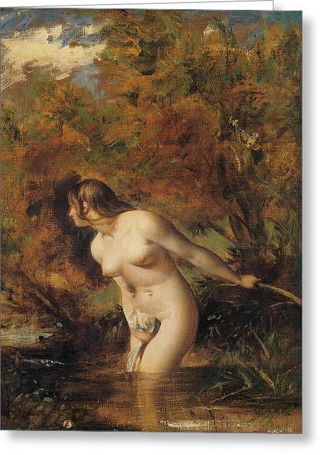 Woman Of The Forest Greeting Cards - Musidora  The Bather at the Doubtful Breeze Alarmed Greeting Card by William Etty