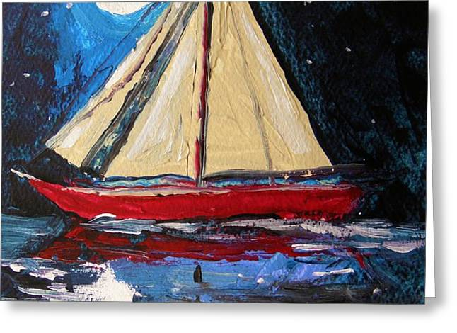 Musing-Midnight Sail Greeting Card by John  Williams