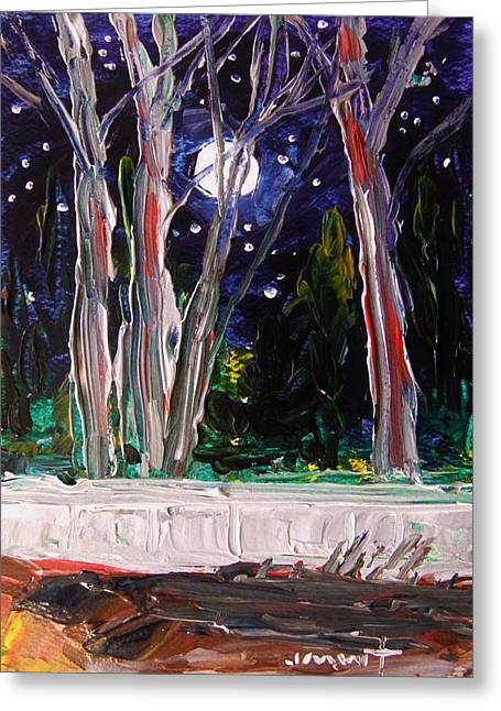 Moonrise Drawings Greeting Cards - Musing-Moon Over the Wall Greeting Card by John  Williams