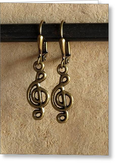 Gold Earrings Greeting Cards - Musique Greeting Card by Jan Brieger-Scranton