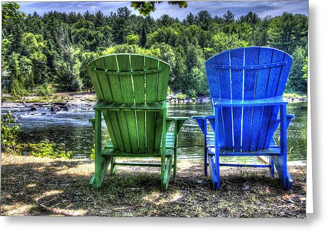 Lawn Chair Greeting Cards - Muskoka Chairs - Blue and Green Greeting Card by Jana Smith