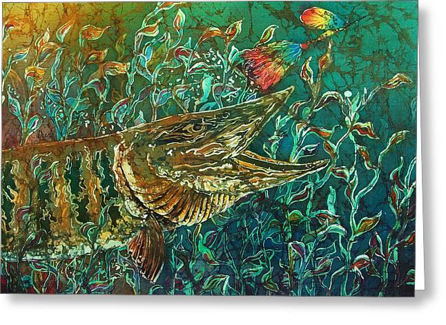Muskies Greeting Cards - MUSKY- Chasin Greeting Card by Sue Duda