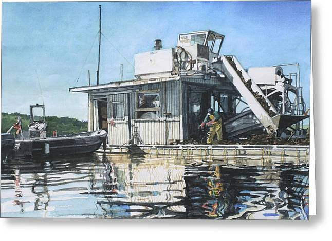 Reflection Harvest Greeting Cards - Mussel Harvest on Penn Cove Greeting Card by Perry Woodfin