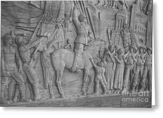 Uffizi Greeting Cards - Mussolini, Haut-relief Greeting Card by Photo Researchers