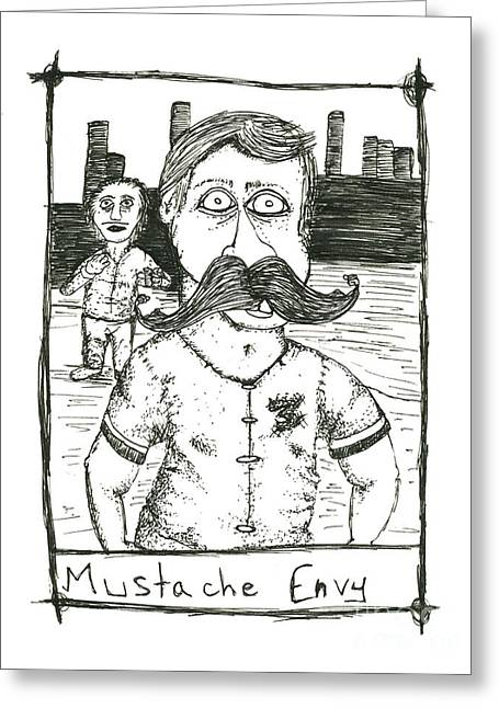Mustache Envy Greeting Card by Michael Mooney