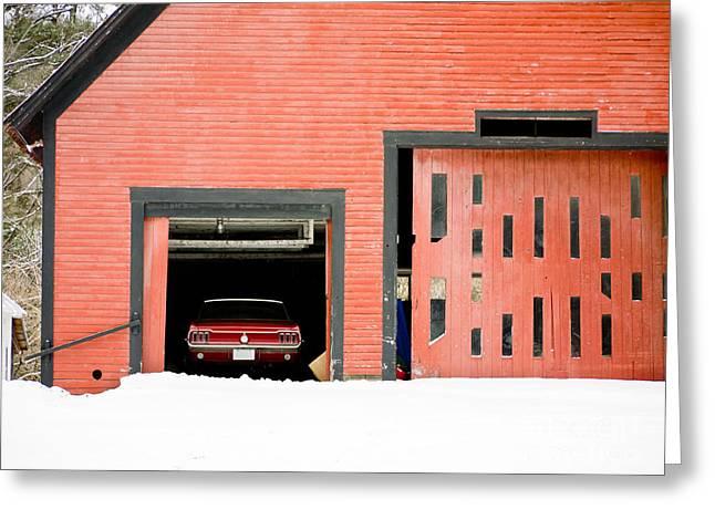 Mustang Car Barn Greeting Card by Edward Fielding