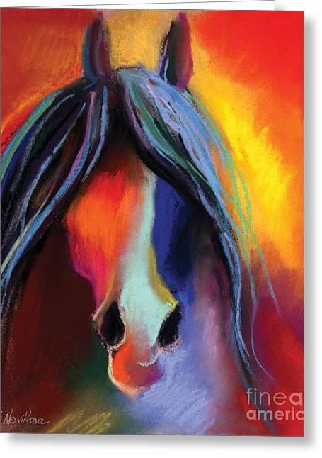 Horse Art Pastels Greeting Cards - Mustang Horse Painting Greeting Card by Svetlana Novikova