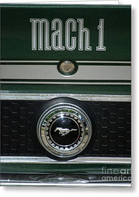 Photography By Thomas Woolworth Greeting Cards - Mustang Mach 1 Emblem Greeting Card by Thomas Woolworth