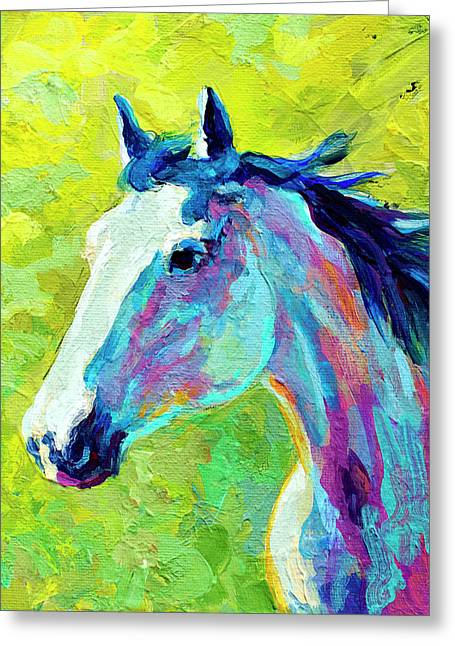 Rodeos Greeting Cards - Mustang Greeting Card by Marion Rose