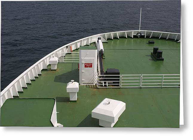 Ocean Sailing Greeting Cards - Muster Deck On A Ship Greeting Card by Will Burwell