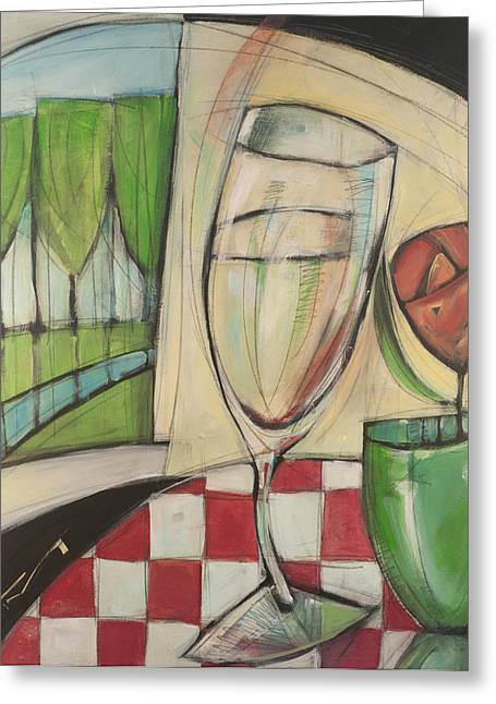 Checked Tablecloths Paintings Greeting Cards - Mutual Attraction Greeting Card by Tim Nyberg