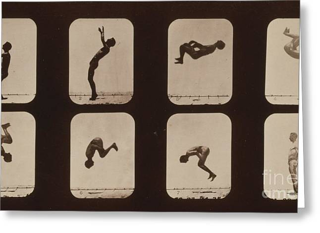 Muybridge Photographs Greeting Cards - Muybridge Locomotion, Back Somersault Greeting Card by Photo Researchers