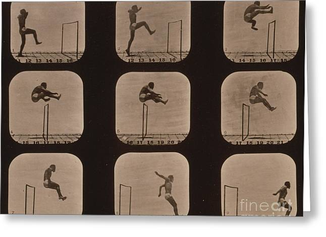 Muybridge Locomotion of Man Jumping Greeting Card by Photo Researchers