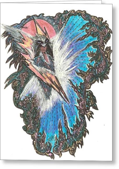 Images Lightning Paintings Greeting Cards - My angel guidance Greeting Card by Anne Marie Borgelioen