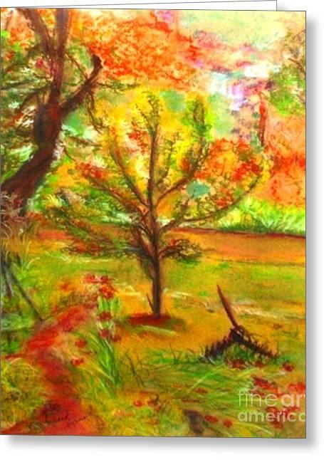 Farmer Pastels Greeting Cards - My Art Teachers Crab Apple Tree Greeting Card by Helena Bebirian