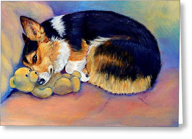 Puppies Greeting Cards - My Baby Pembroke Welsh Corgi Greeting Card by Lyn Cook