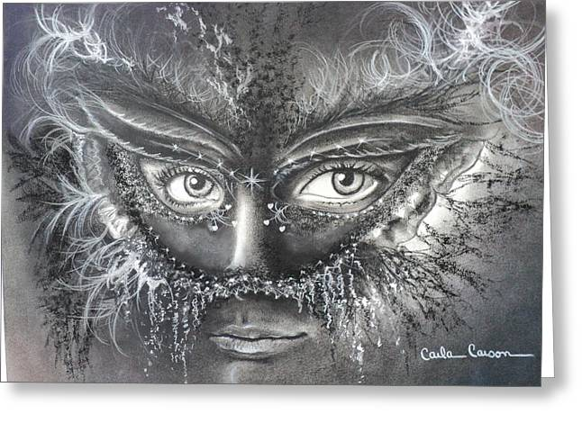Mask Drawings Greeting Cards - My Beautiful Nightmare Greeting Card by Carla Carson