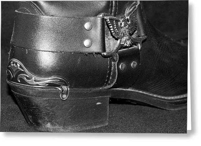 Boots Digital Art Greeting Cards - MY BIKER COWBOY BOOT in BLACK AND WHITE Greeting Card by Rob Hans