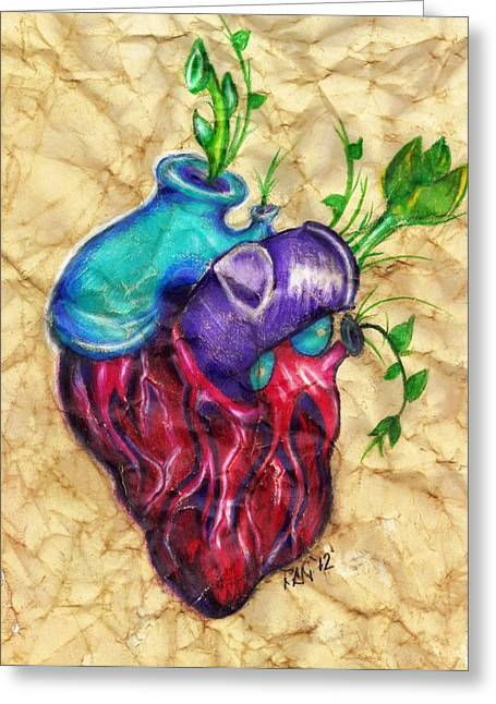 Anatomical Drawings Greeting Cards - My Blossoming Heart Greeting Card by Cristin Chambers