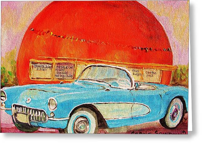 Classical Montreal Scenes Greeting Cards - My Blue Corvette at the Orange Julep Greeting Card by Carole Spandau