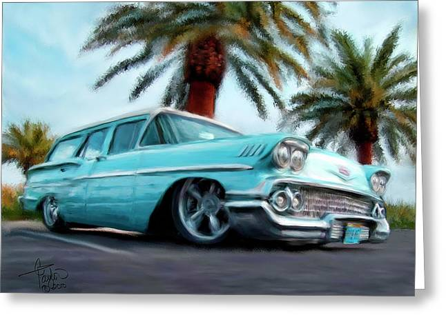 Station Wagon Greeting Cards - My Blue Heaven Greeting Card by Colleen Taylor