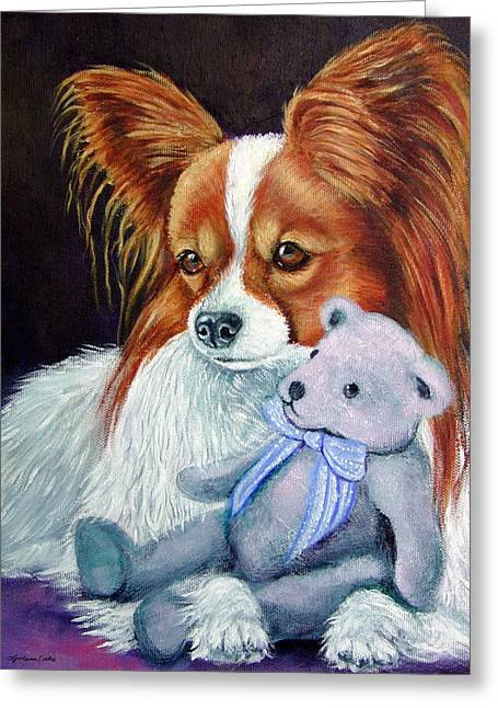 Papillon Dog Greeting Cards - My Blue Teddy - Papillon Dog Greeting Card by Lyn Cook