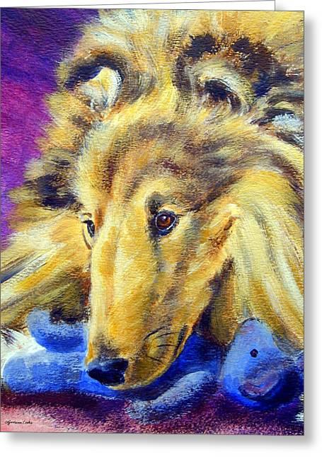 Sheepdog Greeting Cards - My Blue Teddy - Shetland Sheepdog Greeting Card by Lyn Cook