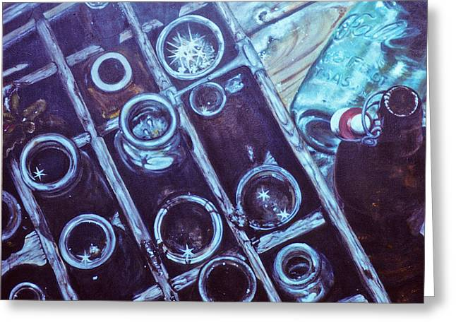Catherine Foster Mixed Media Greeting Cards - My Bottle Collection no. 2  Greeting Card by Catherine Foster