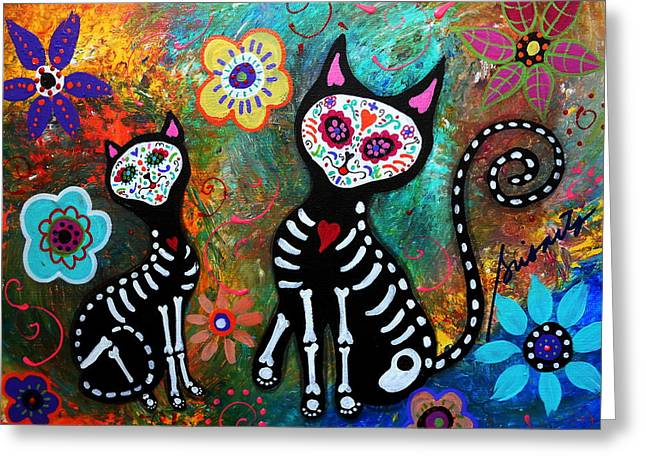 Dia De Los Muertos Art Greeting Cards - My Cats Dia De  Los Muertos Greeting Card by Pristine Cartera Turkus