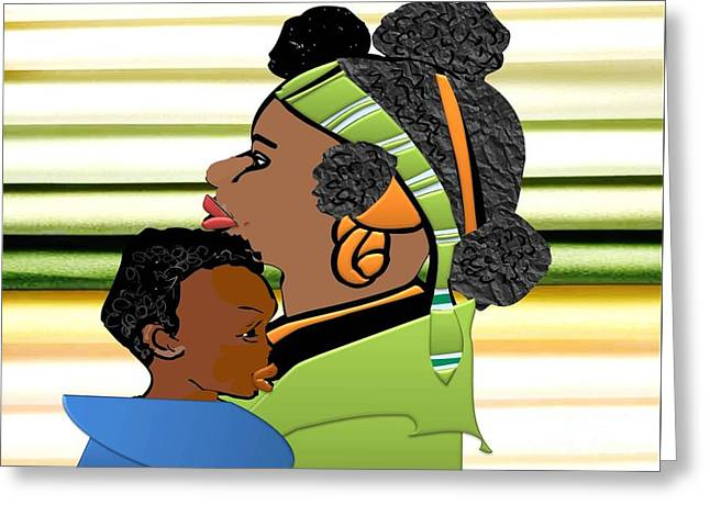African-american Drawings Greeting Cards - My Child and I Greeting Card by Belinda Threeths
