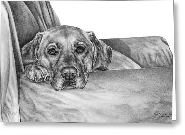 Pencil Drawing Greeting Cards - My Favorite Chair Greeting Card by Kelli Swan