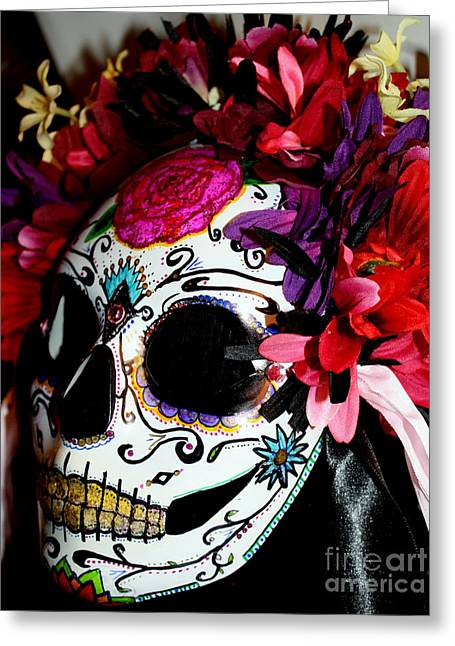 Bright Sculptures Greeting Cards - My First Sugar Skull Mask Greeting Card by Mitza Hurst