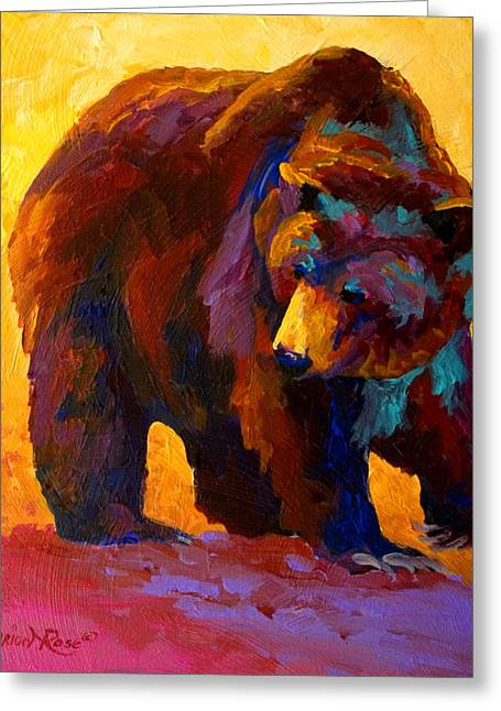 Animals Paintings Greeting Cards - My Fish - Grizzly Bear Greeting Card by Marion Rose