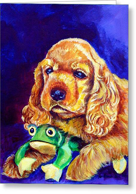 Puppies Paintings Greeting Cards - My Froggy - Cocker Spaniel puppy Greeting Card by Lyn Cook