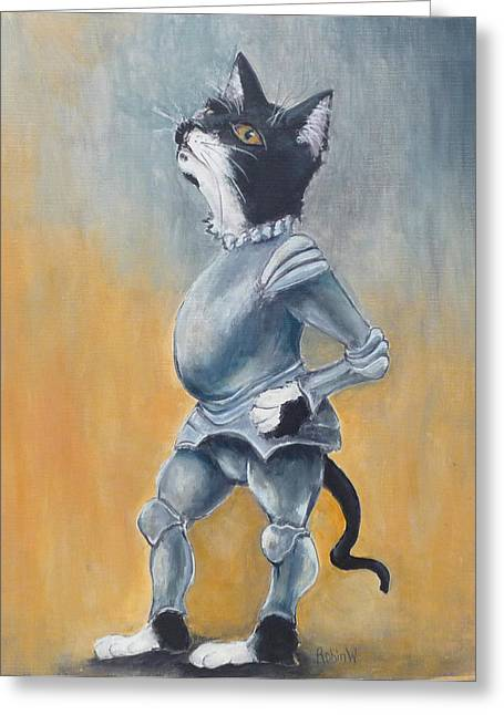 Camelot Greeting Cards - My Kingdom for some Catnip Greeting Card by Robin Wiesneth